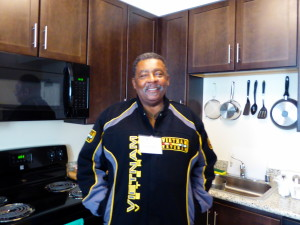 Navy veteran James Mason in the kitchen of his new home.